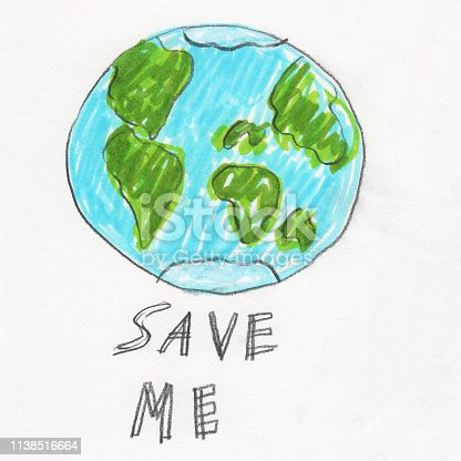 Hand drawn Earth with hand lettered text that says save me