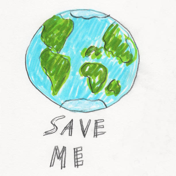 Save Me Earth vector art illustration