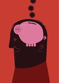 """man thinking on his piggy bank, Adobe Illustrator CS3 vector illustration"""