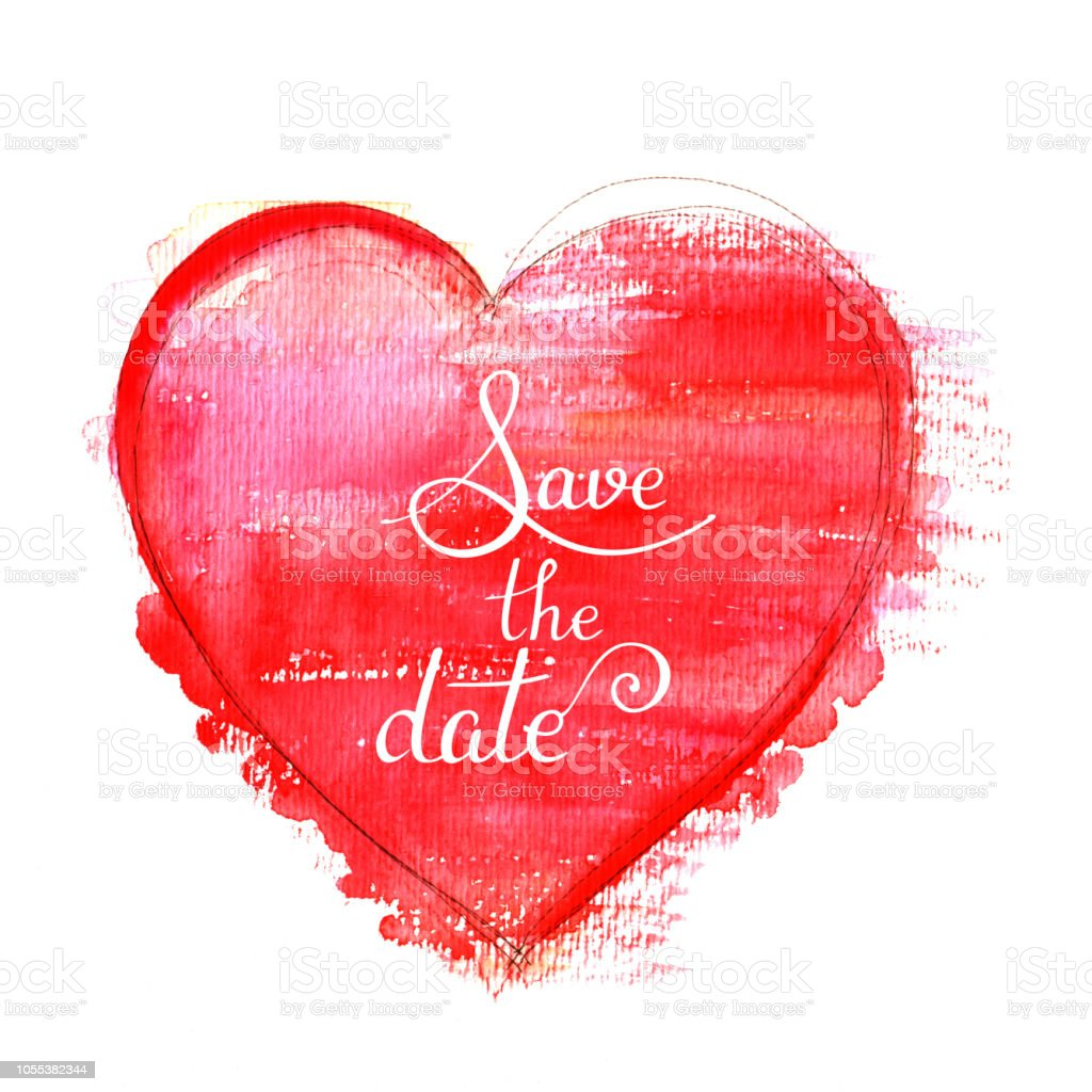 3c0912064ce12 Save The Date A Wedding Invitation With A Red Watercolor Heart On A White  Background A Design Template Stock Illustration - Download Image Now