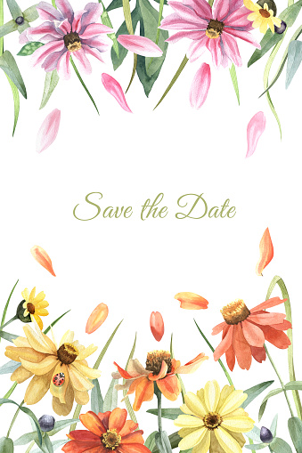 Save the date card with watercolor floral border. Calendula flowers, leaves, grass