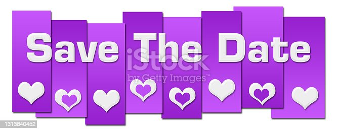 istock Save The Date Purple Lines Hearts Horizontal 1313840452