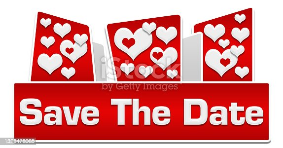 istock Save The Date Red Hearts Rounded Squares On Top 1328478065