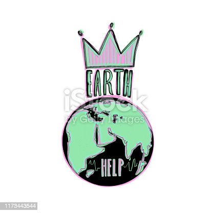 Save the Earth hand drawn illustration.
