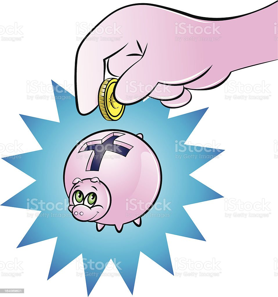 saving in a piggy bank royalty-free stock vector art
