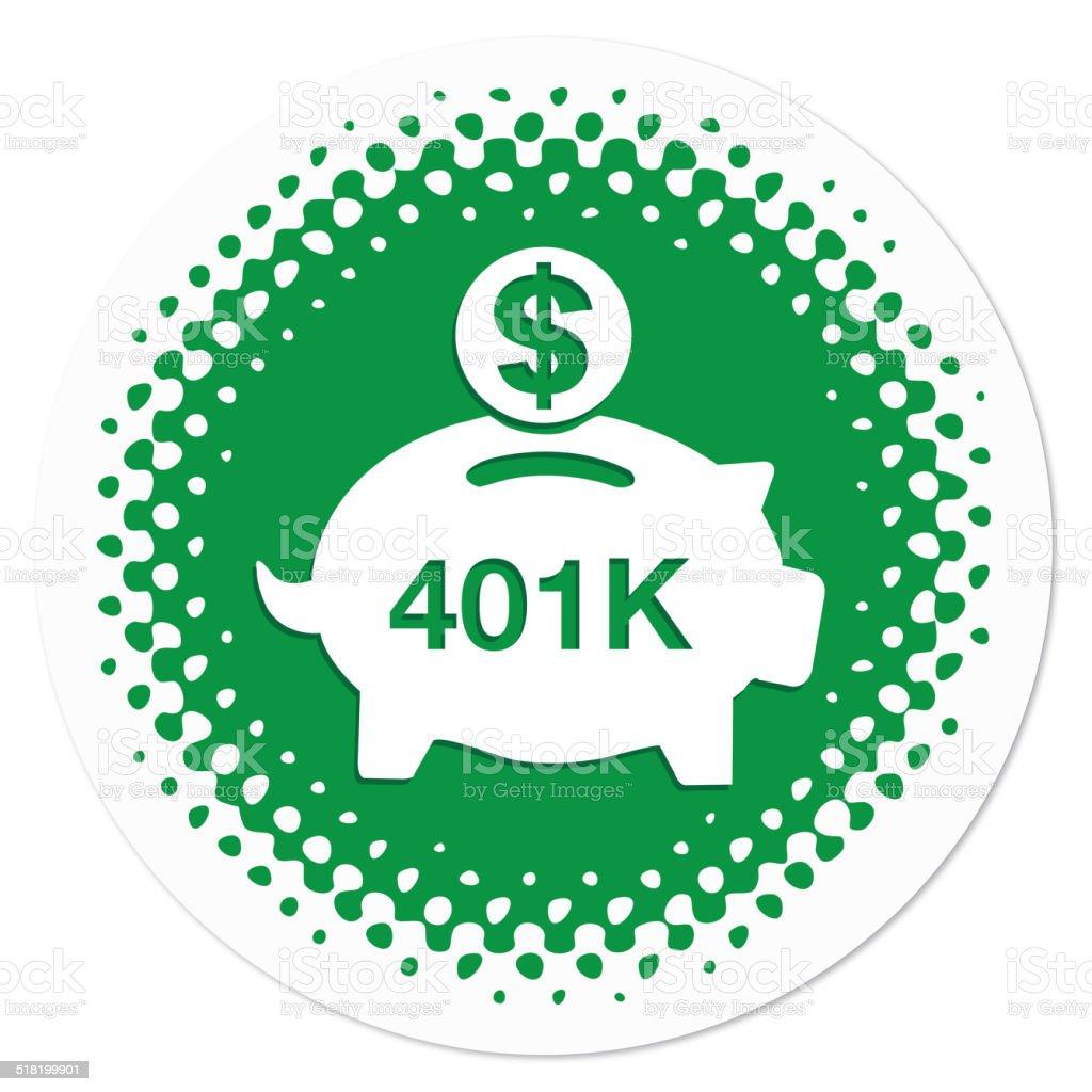 401K savings badge in green vector art illustration