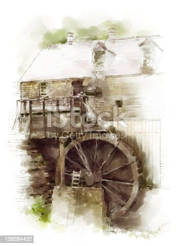 Illustration of an 18th century water-powered sawmill