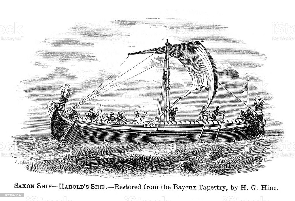 Saxon Ship vector art illustration