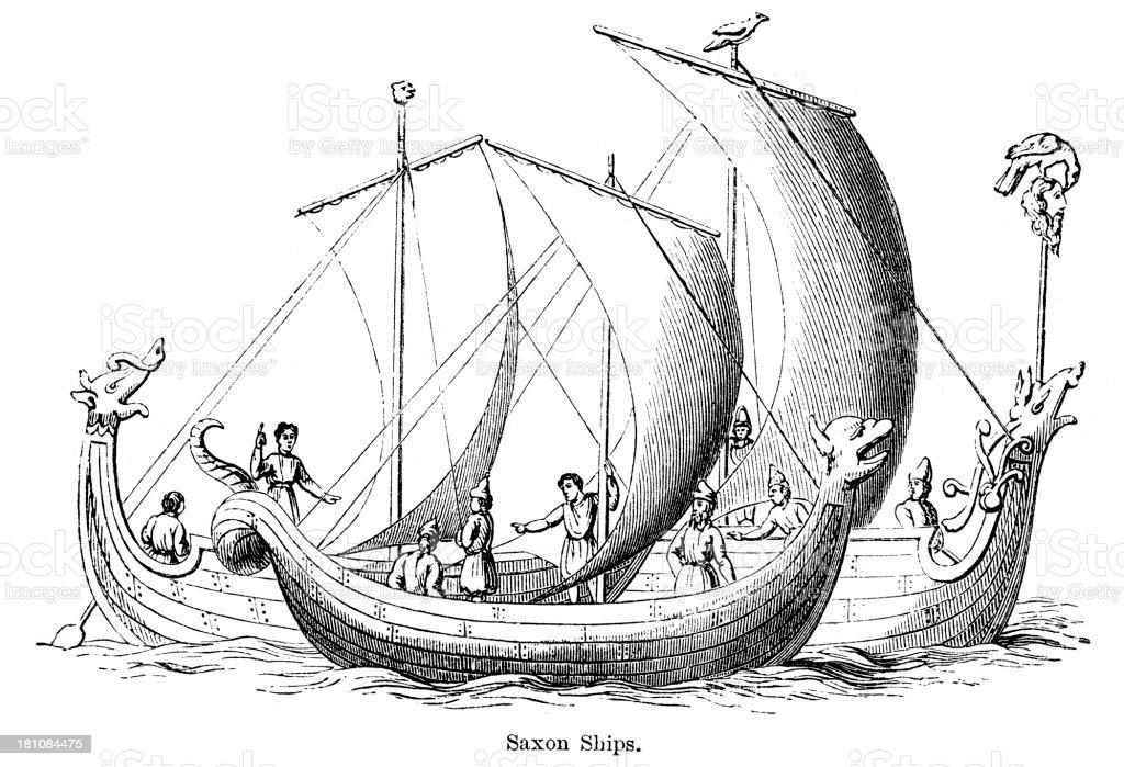 Saxon Ships vector art illustration