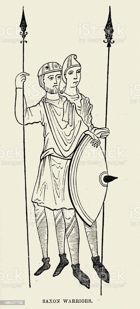 Saxon Warriors vector art illustration