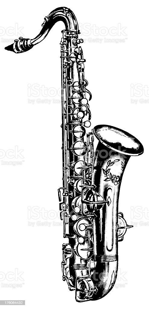 Saxophone | Antique Musical Illustrations royalty-free stock vector art