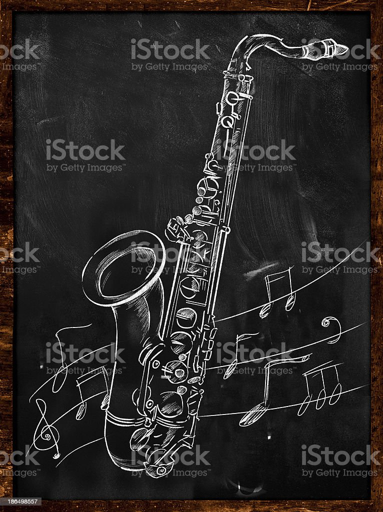 Saxophone drawing sketching on blackboard royalty-free saxophone drawing sketching on blackboard stock vector art & more images of acoustic music