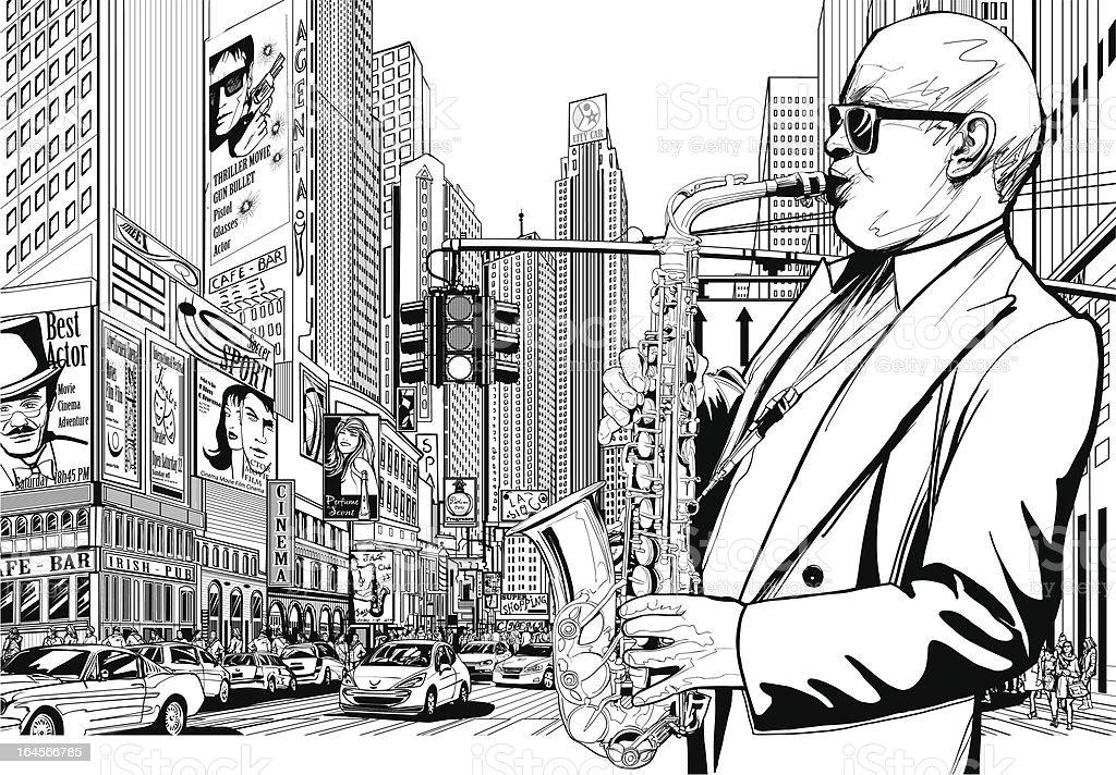 Saxophonspieler In Einem Street Von New York Stock Vektor Art und ...