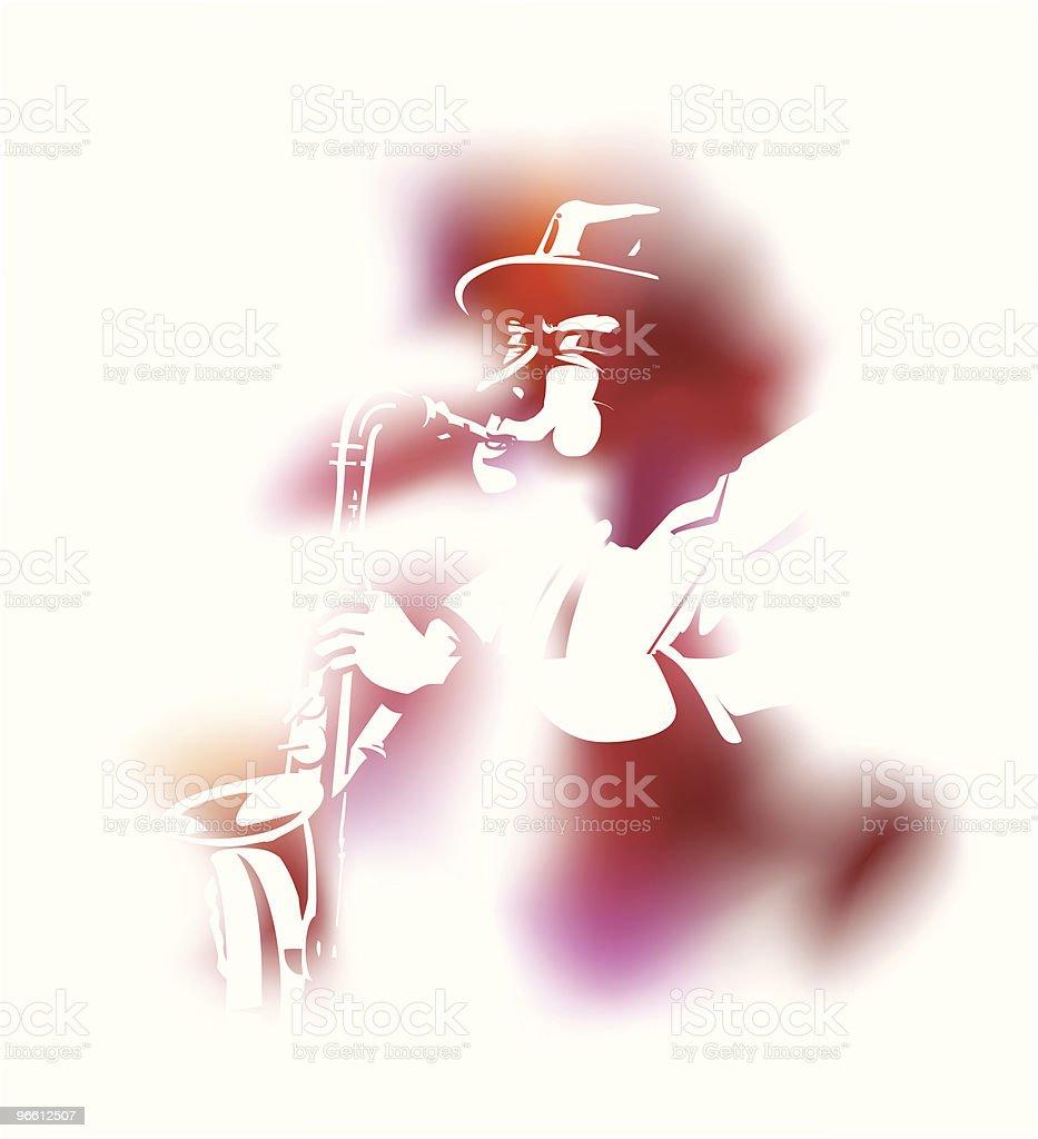 Saxophonist - Royaltyfri Blåsa - Använda munnen vektorgrafik