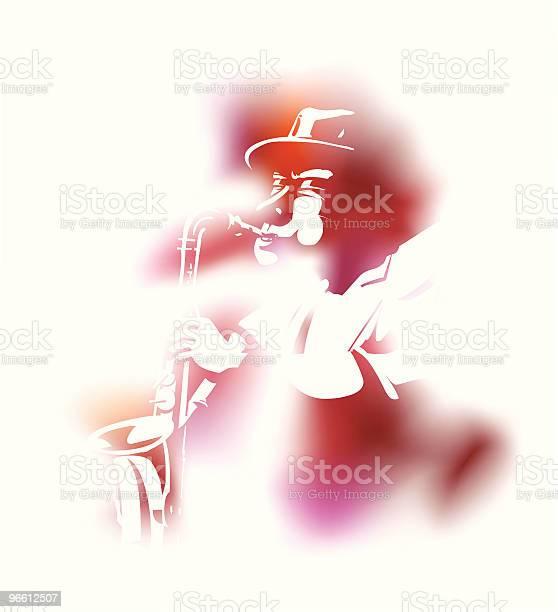 Saxophonist-vektorgrafik och fler bilder på Blåsa - Använda munnen