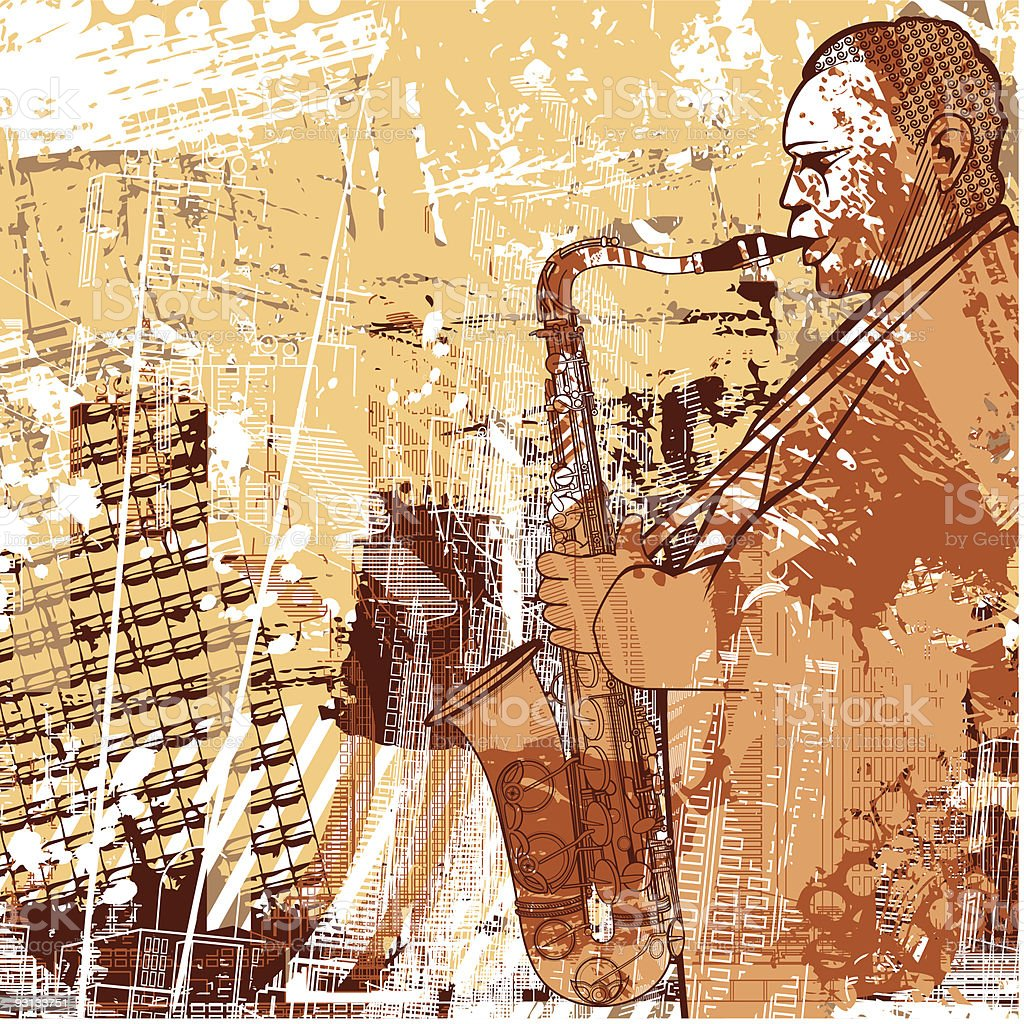 saxophonist on a grunge background vector art illustration