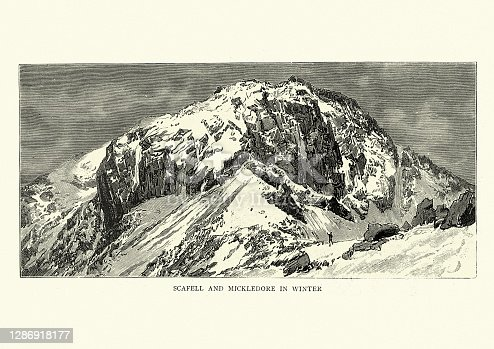 Vintage engraving of Scafell and Mickledore in winter, English Lake District, 19th Century