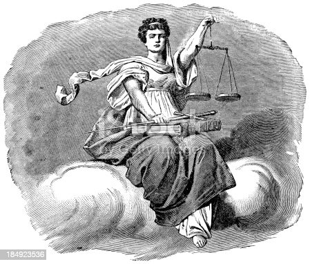 Engraving From 1882 Featuring A Woman Holding The Scales Of Justice.