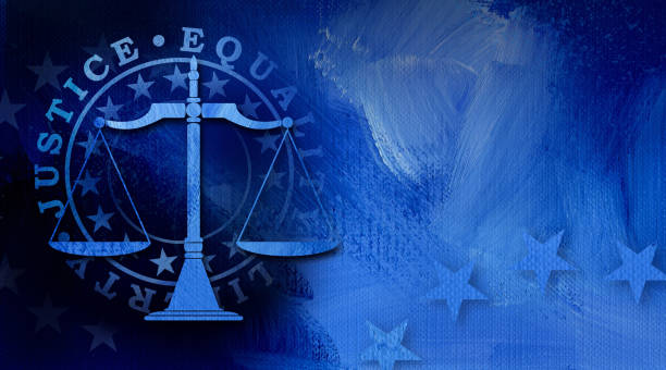 Scales of Justice with Justice Equality and Liberty abstract background Graphic illustration of Scales of Justice icon with stars and mock seal of Justice, equality and liberty on abstract oil paint background. Conceptual graphic for judicial themed usage. supreme court stock illustrations