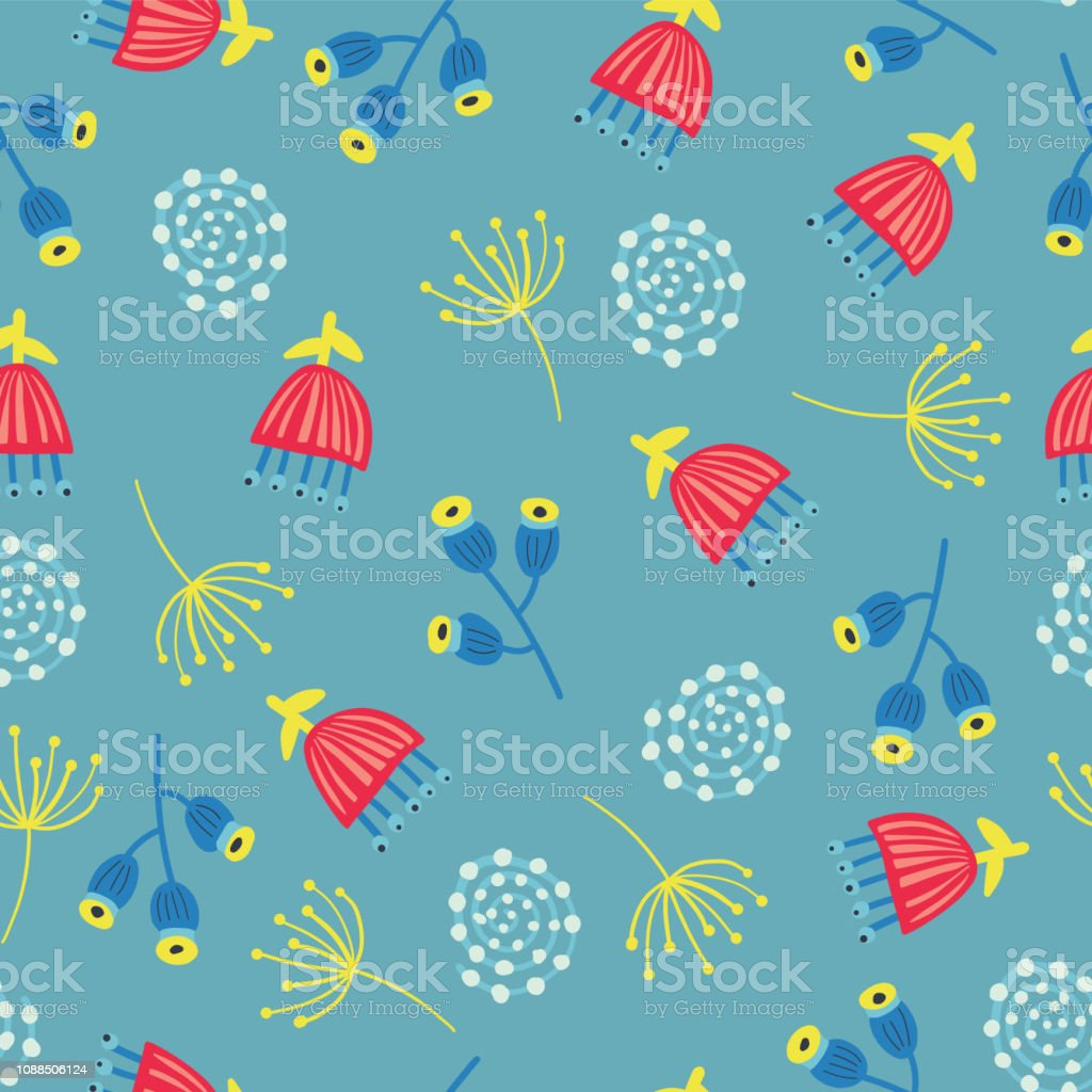Scandinavian flowers seamless vector background vector art illustration
