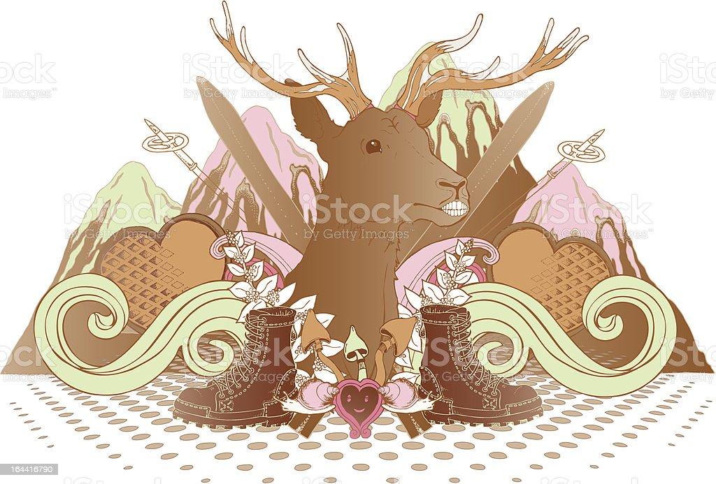 Scandinavian Mountain Life royalty-free stock vector art