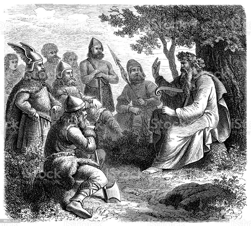 Scandinavian skald in the middle ages vector art illustration
