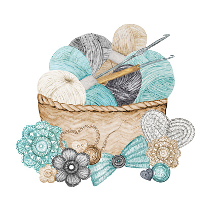 Scandinavian style Crochet Shop Logotype, Branding, Avatar composition of hooks, yarns, crocheted heart, bow, flowers. Hobby Logo. Blue gray beige Watercolor Illustration for handmade or Crocheting