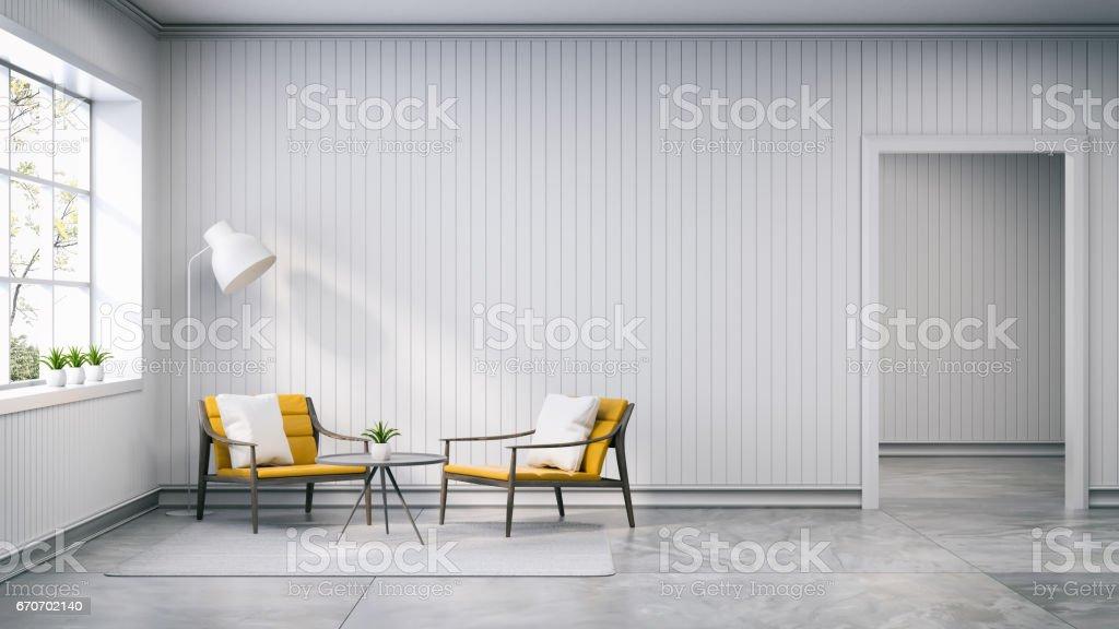Lampen Scandinavisch Interieur : Scandinavische stijl interieur design licht gele fauteuil met lamp
