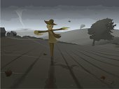 """""""A Scarecrow in a field, braving the approaching tornado. Vector illustration with hi-res .jpg."""""""