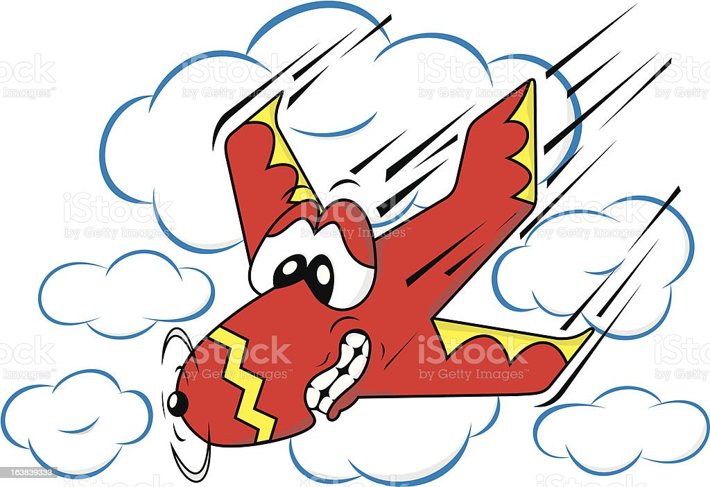 Scared Cartoon Plane vector art illustration