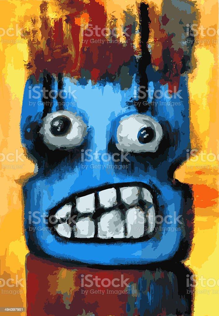 Scared Creature Portrait vector art illustration