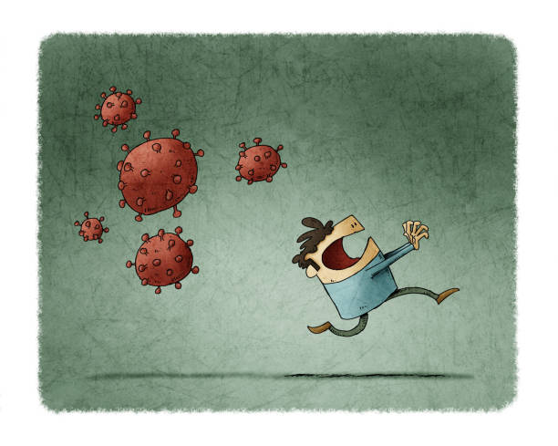 Scared man runs because behind come some very contagious viruses vector art illustration