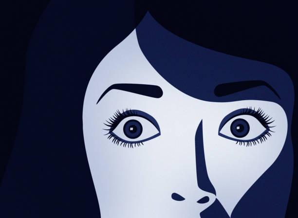 illustrazioni stock, clip art, cartoni animati e icone di tendenza di scared woman - donna si nasconde