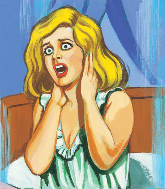 Scared woman vector art illustration