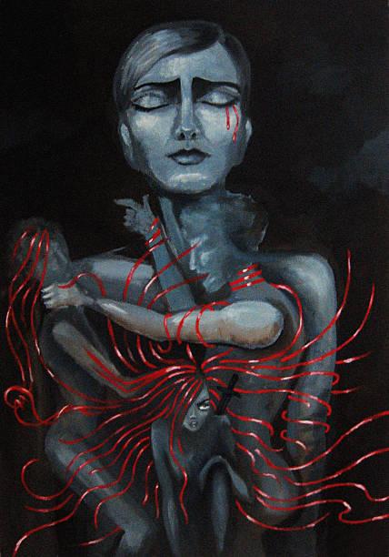 scarlet ribbons - domestic violence stock illustrations