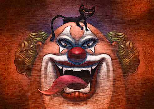 scary clown with black cat