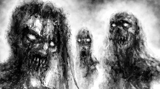 Scary demonic zombies with glowing eyes illustration.