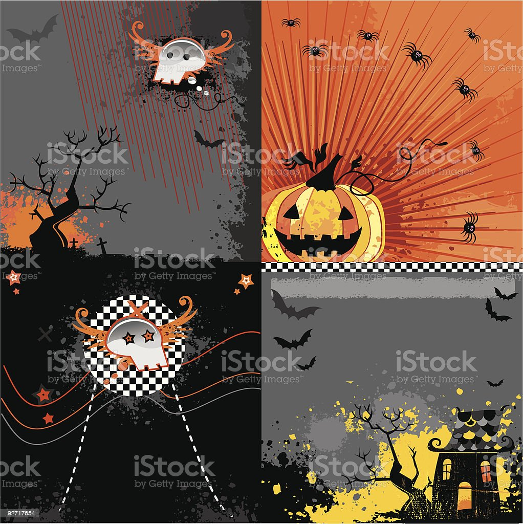 Scary halloween backgrounds set royalty-free scary halloween backgrounds set stock vector art & more images of autumn