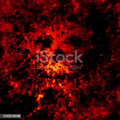 Scary skull abstraction from debris and dots. Red background color.
