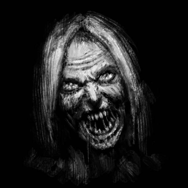 bildbanksillustrationer, clip art samt tecknat material och ikoner med skrämmande zombie kvinnliga ansikte på svart bakgrund. - fasa