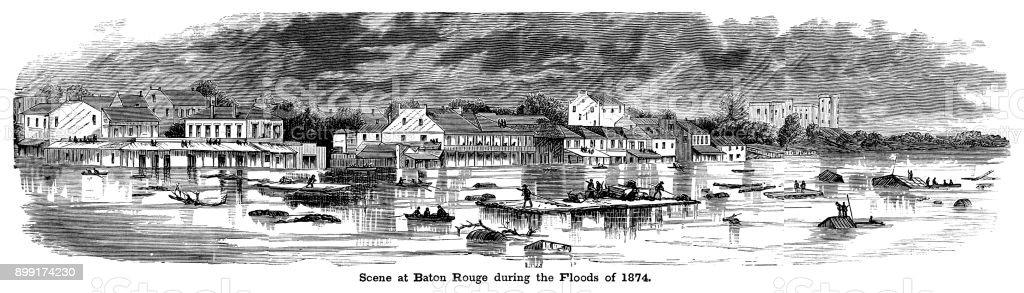 1874 年の洪水の間にルイジアナ...