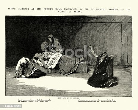 Vintage engraving of a Scene from an Indian play at the Prince's Hall, Piccadilly, Death of the mother, 1884.