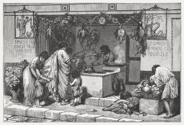 Scene from Ancient Rome: Delicatessen business with food, published c.1895 Scene from Ancient Rome: Delicatessen business with food. Wood engraving, published around 1895. ancient stock illustrations