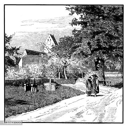 Illustration of a Scene from Schopfheim ,town in the district of Lörrach in Baden-Württemberg, Germany