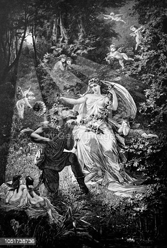 Scene from the fairy-tale world with a fairy tale and a mysterious being half a man and half a horse - 1888