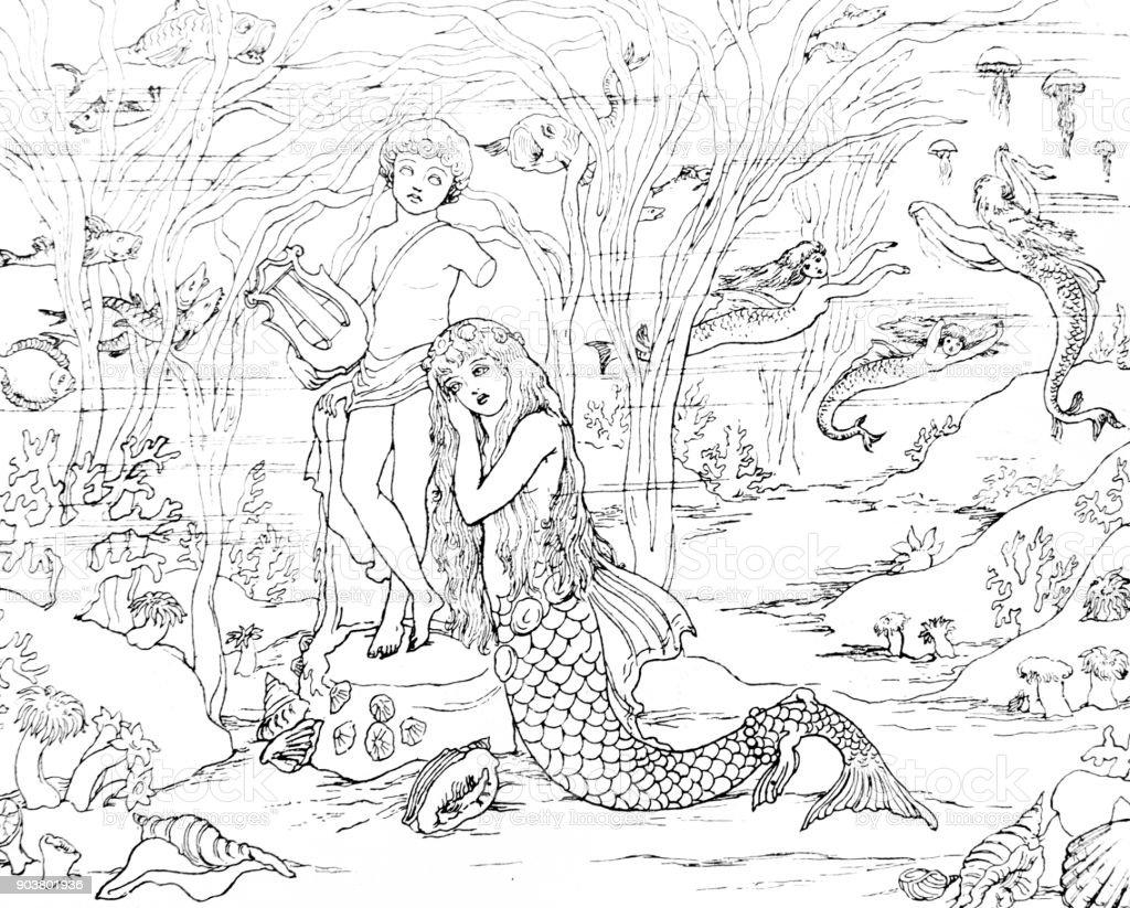 Cena da pequena sereia de Andersen - ilustração de arte em vetor