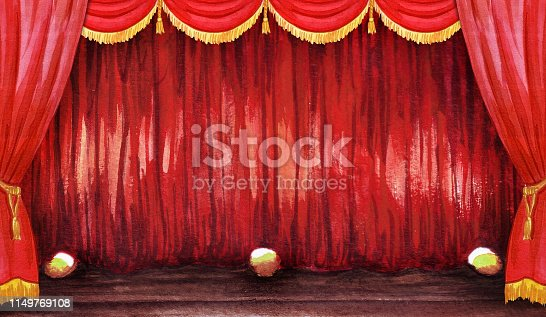 Scene hall curtain watercolor circus, concert, show, theater illustration hand drawn