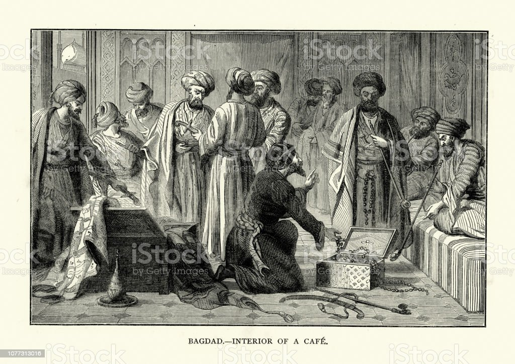 Scene in a Cafe in Baghdad, 19th Century vector art illustration