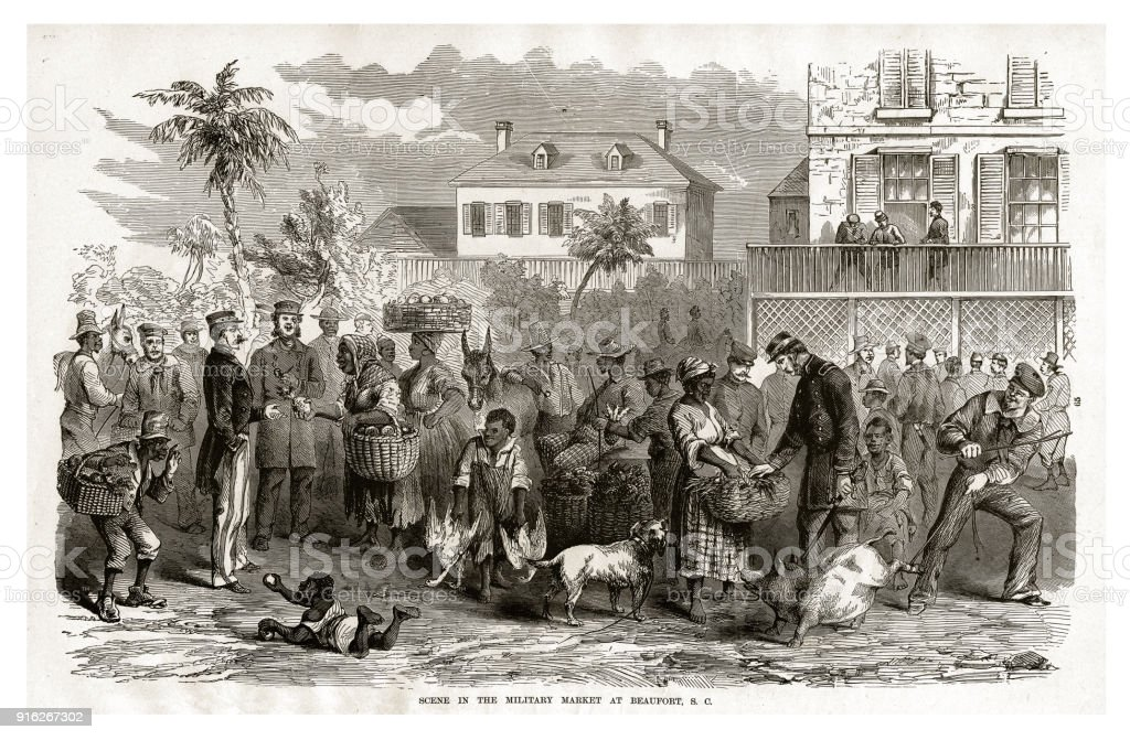 Scene in the Military Market at Beaufort, South Carolina, 1861 Civil War Engraving vector art illustration