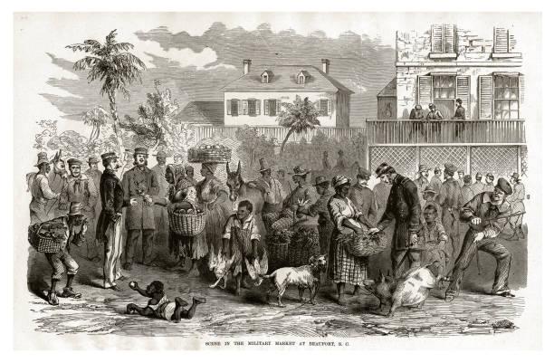 Scene in the Military Market at Beaufort, South Carolina, 1861 Civil War Engraving vector art illustration